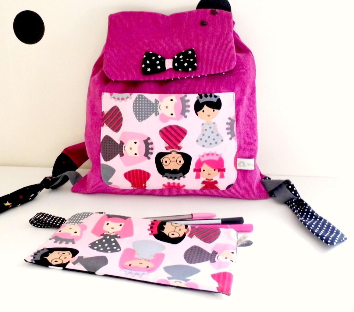 sac dos maternelle original princesses amanite rose. Black Bedroom Furniture Sets. Home Design Ideas