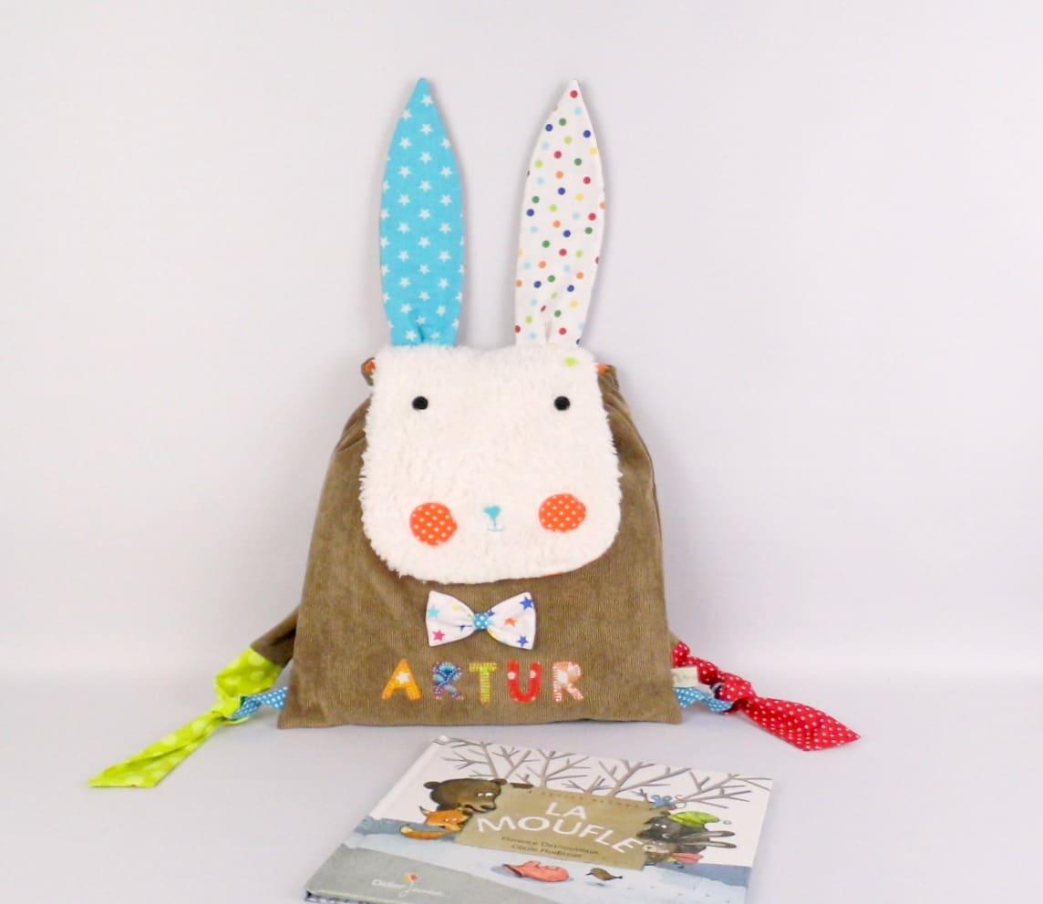 sac dos lapin personnalisable avec le pr nom cole maternelle cr che. Black Bedroom Furniture Sets. Home Design Ideas